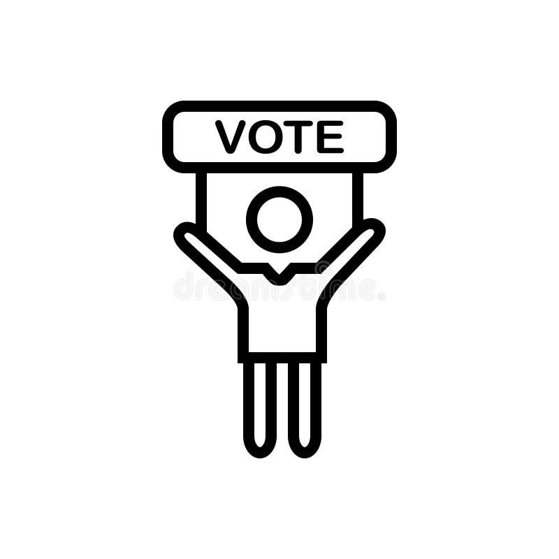 Icono sólido negro para el voto, la elección y la campaña libre illustration