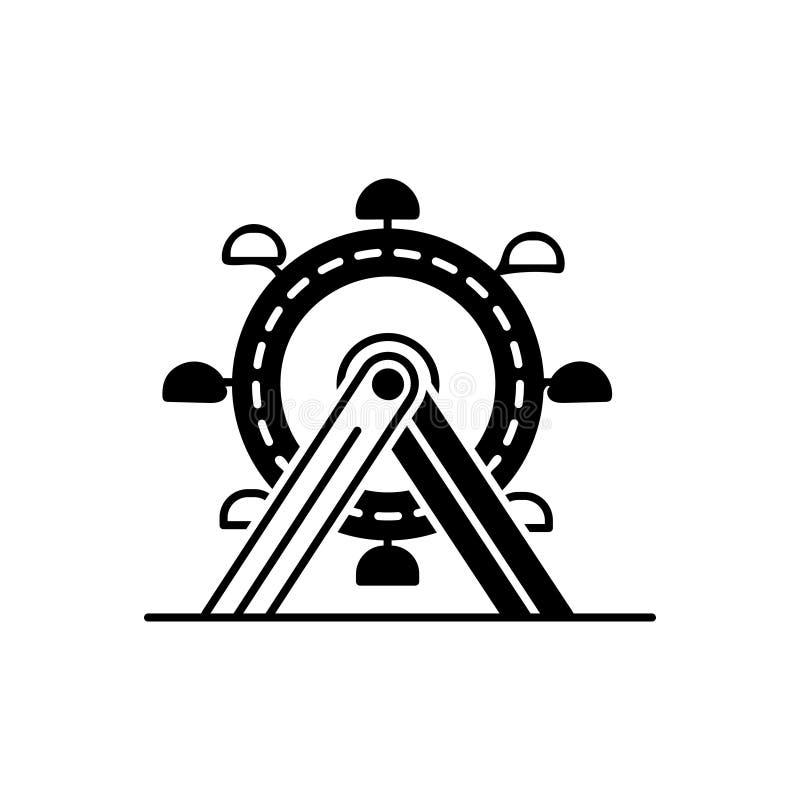 Icono sólido negro para Ferris Wheel, la diversión y el parque libre illustration