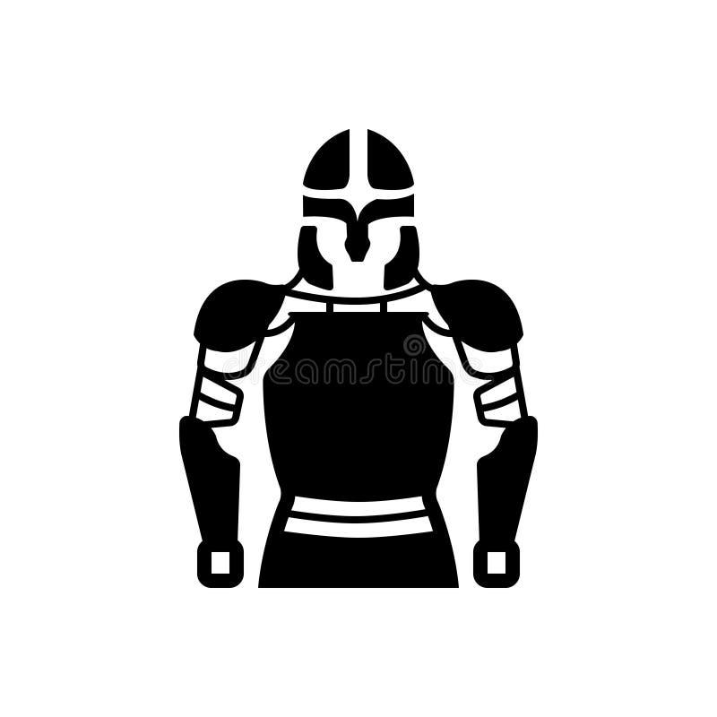 Icono sólido negro para la armadura, el caballero y el guerrero libre illustration