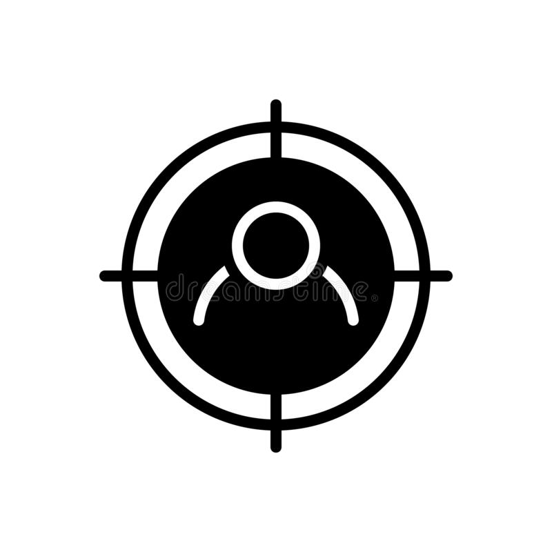 Icono s?lido negro para la blanco, la audiencia y el usuario libre illustration