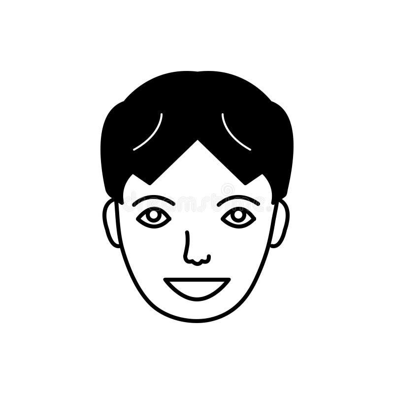 Icono sólido negro para la cara feliz, contento y satisfecho libre illustration