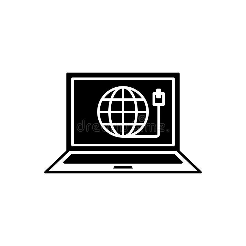 Icono sólido negro para la conexión, Internet y la red de la web stock de ilustración