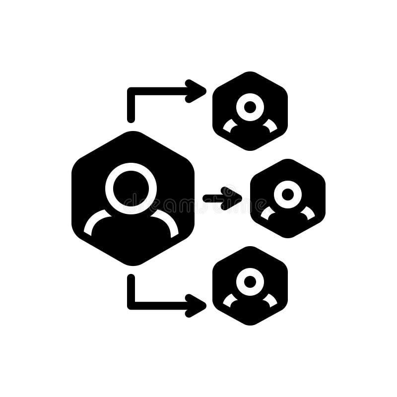 Icono sólido negro para la delegación, organización y autorizar ilustración del vector
