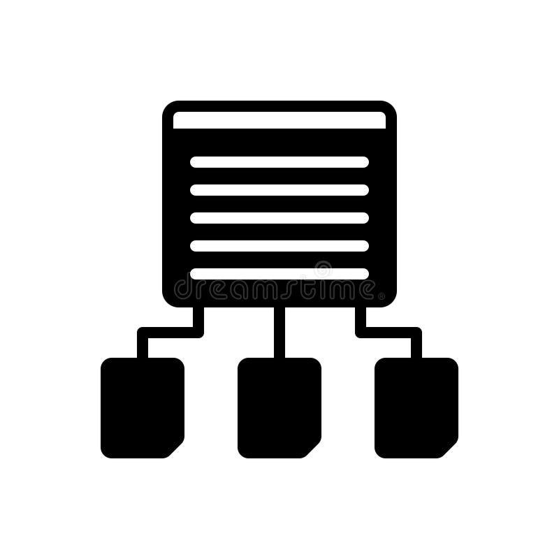 Icono sólido negro para la distribución, la parte y el contexto del contenido libre illustration