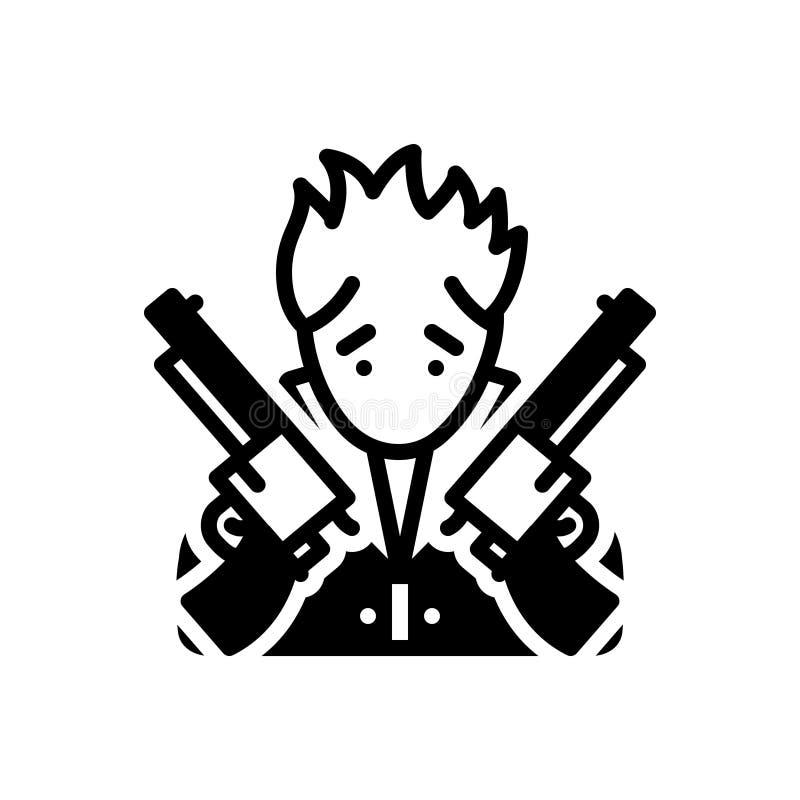 Icono s?lido negro para la gratificaci?n, el arma y el ladr?n ilustración del vector