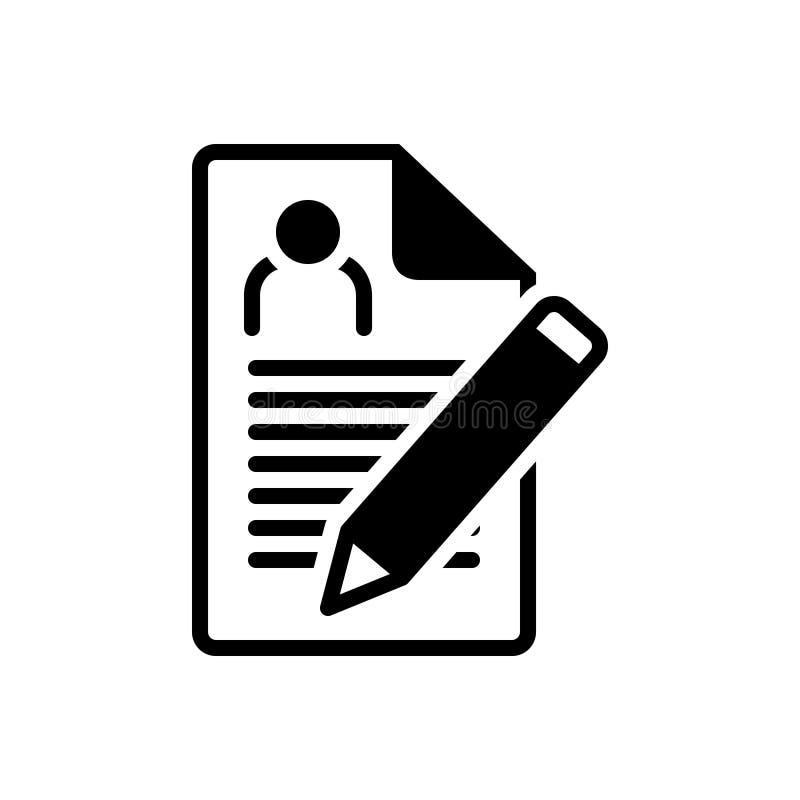 Icono sólido negro para la inscripción, el nombramiento y el reclutamiento stock de ilustración