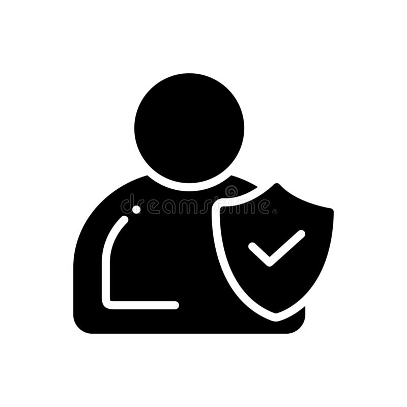 Icono sólido negro para la integridad, la confianza y la honradez libre illustration