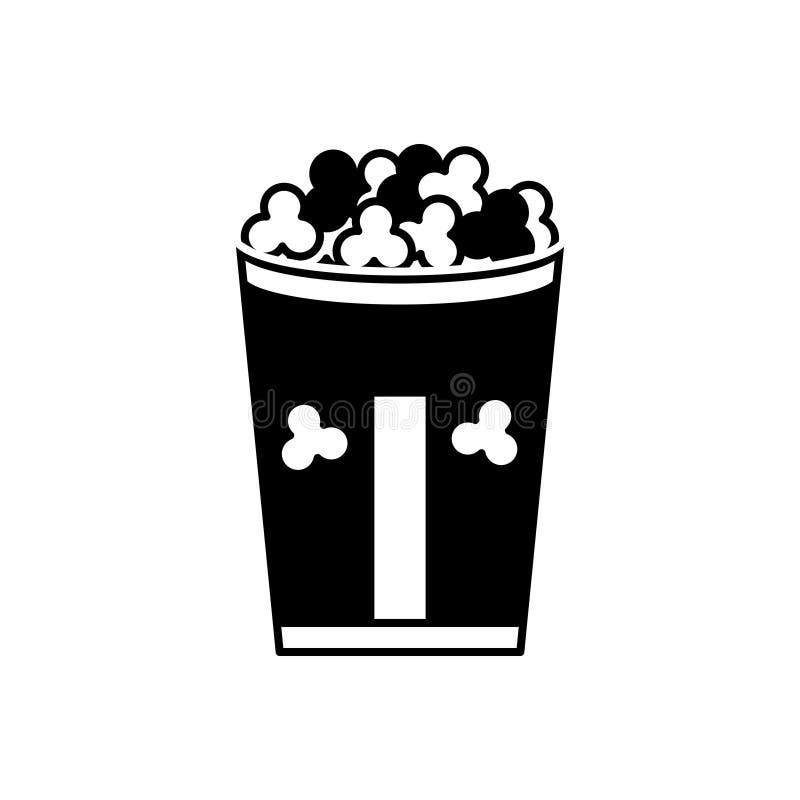 Icono sólido negro para la palomitas de maíz, la comida, el cubo y el bocado stock de ilustración