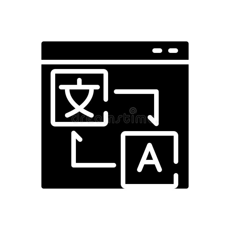 Icono sólido negro para la traducción, la localización y la lengua libre illustration