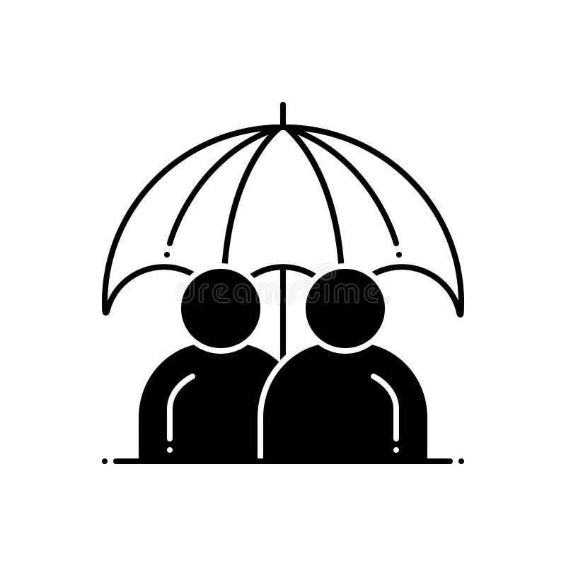 Icono s?lido negro para la vida, el seguro y el t?rmino permanentes libre illustration
