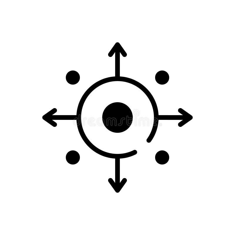Icono sólido negro para las capacidades, la eficacia y el funcionamiento stock de ilustración