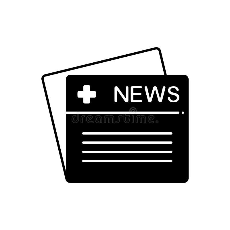 Icono sólido negro para las noticias, la publicación y el mensaje médicos ilustración del vector