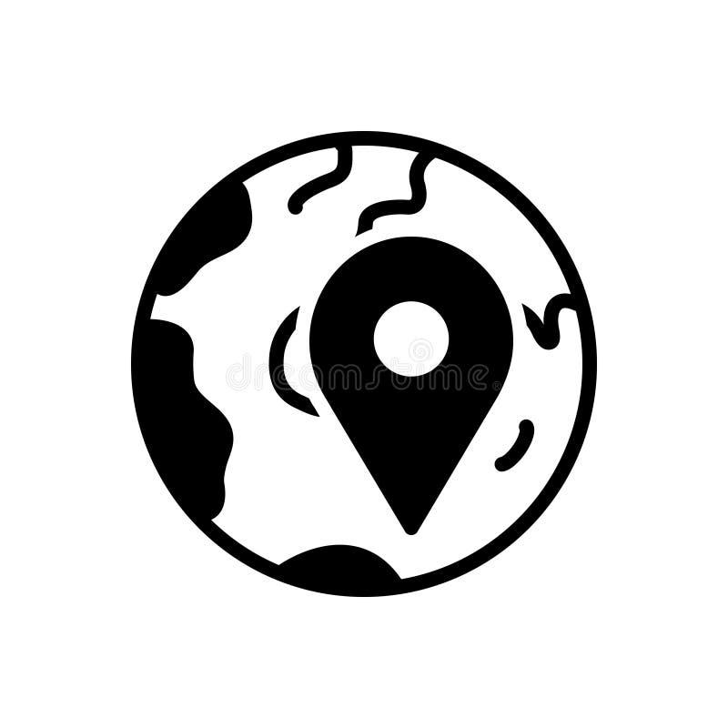 Icono sólido negro para localmente, app y localización ilustración del vector