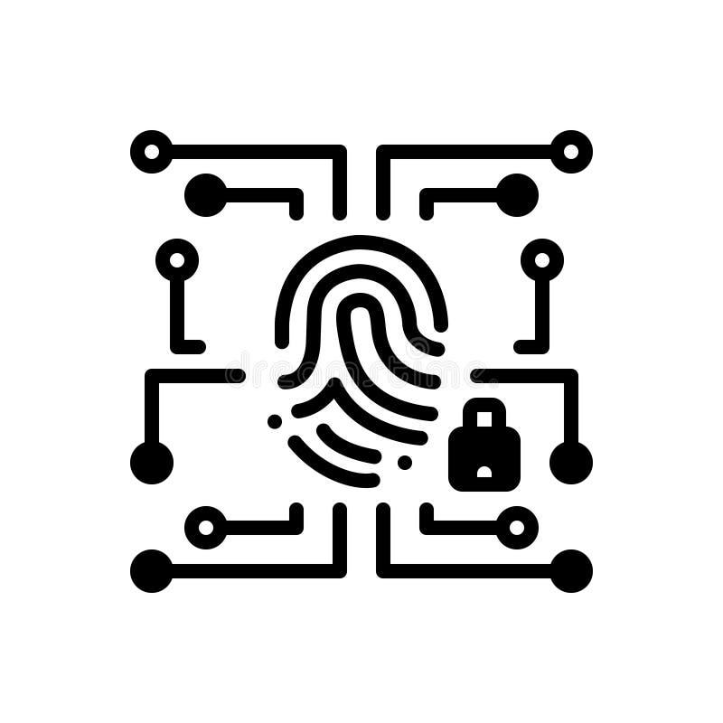 Icono sólido negro para los datos, la contraseña y la seguridad biométricos ilustración del vector
