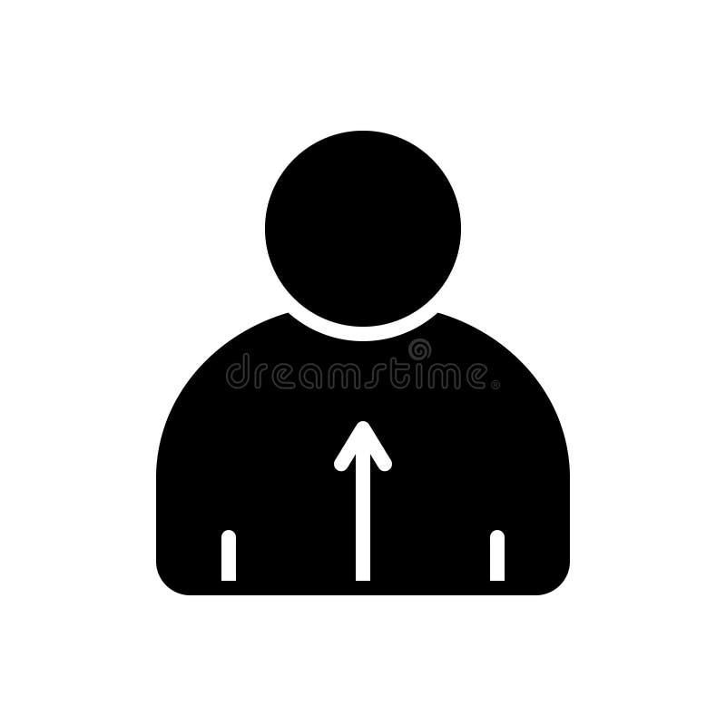 Icono sólido negro para sensible, directo y perceptible ilustración del vector