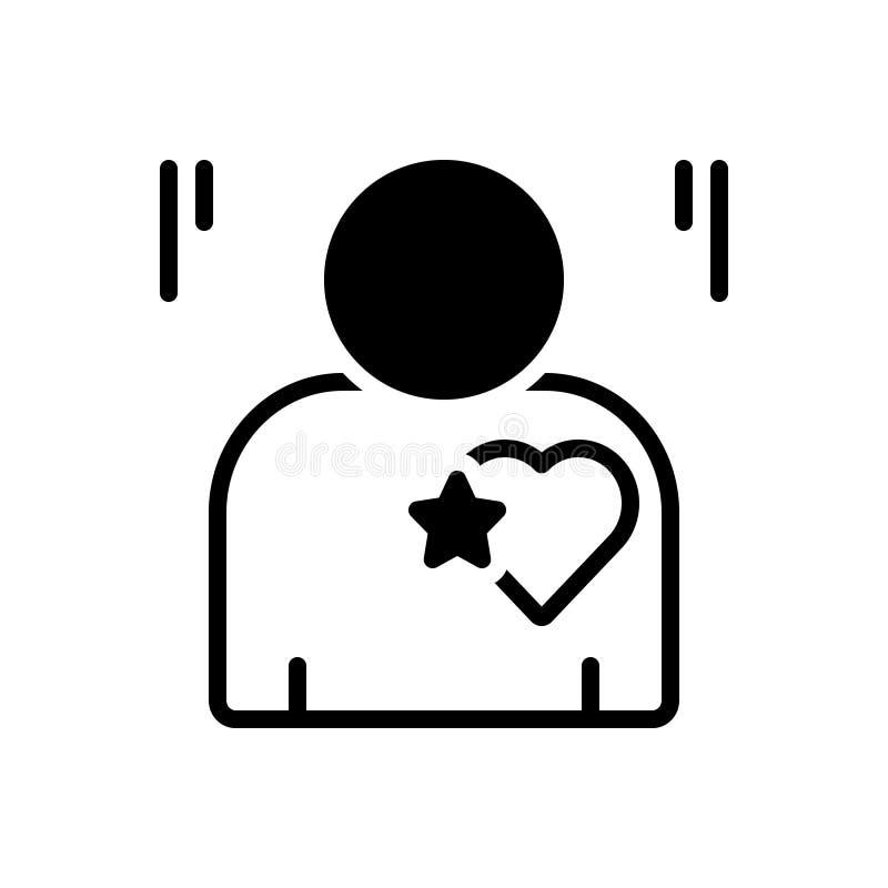 Icono sólido negro por sinceridad, sinceridad y sinceridad stock de ilustración