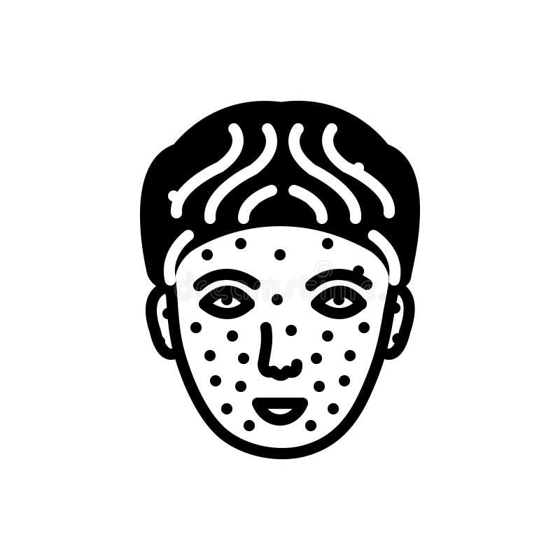 Icono sólido para la varicela, médico negros y la enfermedad ilustración del vector