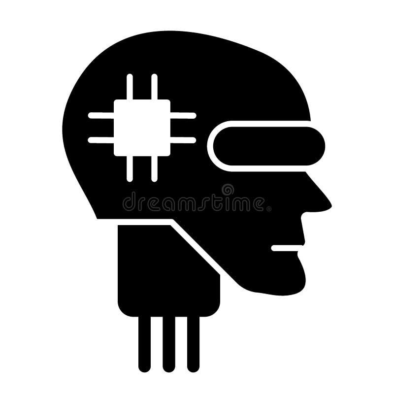 Icono sólido principal de Android Ejemplo del vector de la inteligencia artificial aislado en blanco Diseño del estilo del glyph  libre illustration