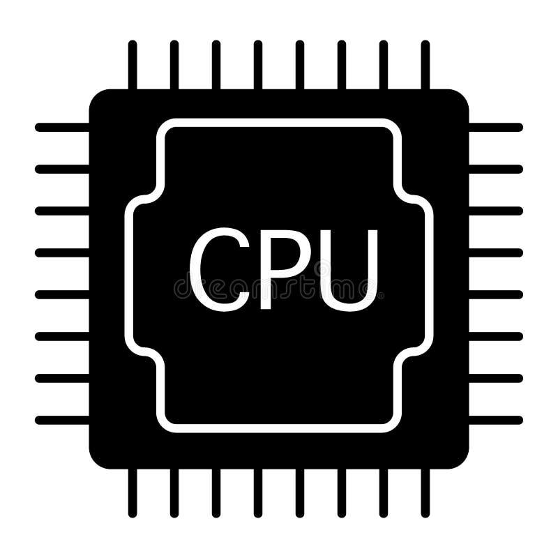Icono s?lido de la CPU Ejemplo del procesador aislado en blanco Dise?o del estilo del glyph del microprocesador, dise?ado para la stock de ilustración