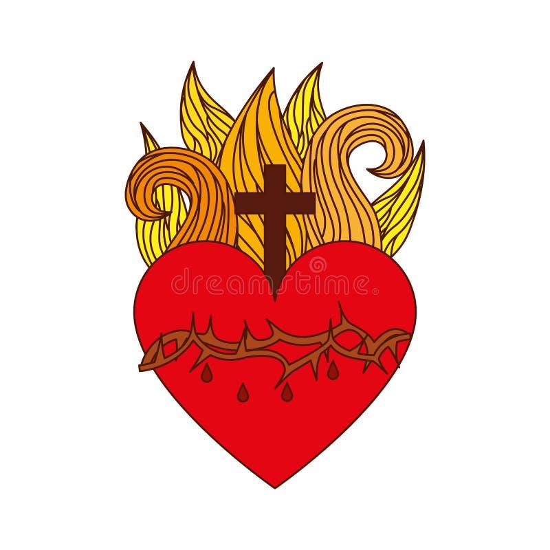 Icono sagrado del corazón de Jesús stock de ilustración