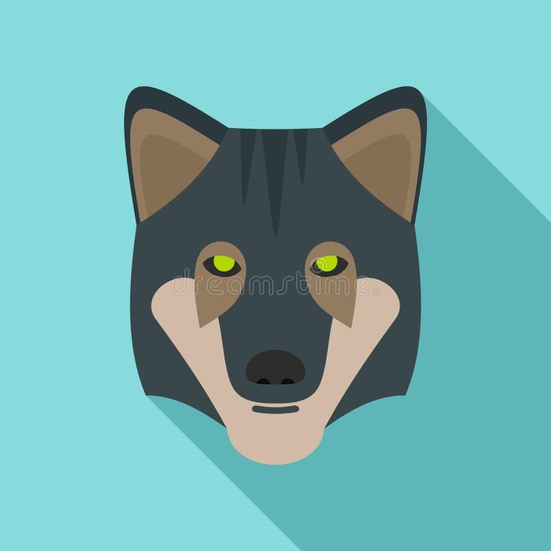 Icono salvaje del lobo, estilo plano stock de ilustración