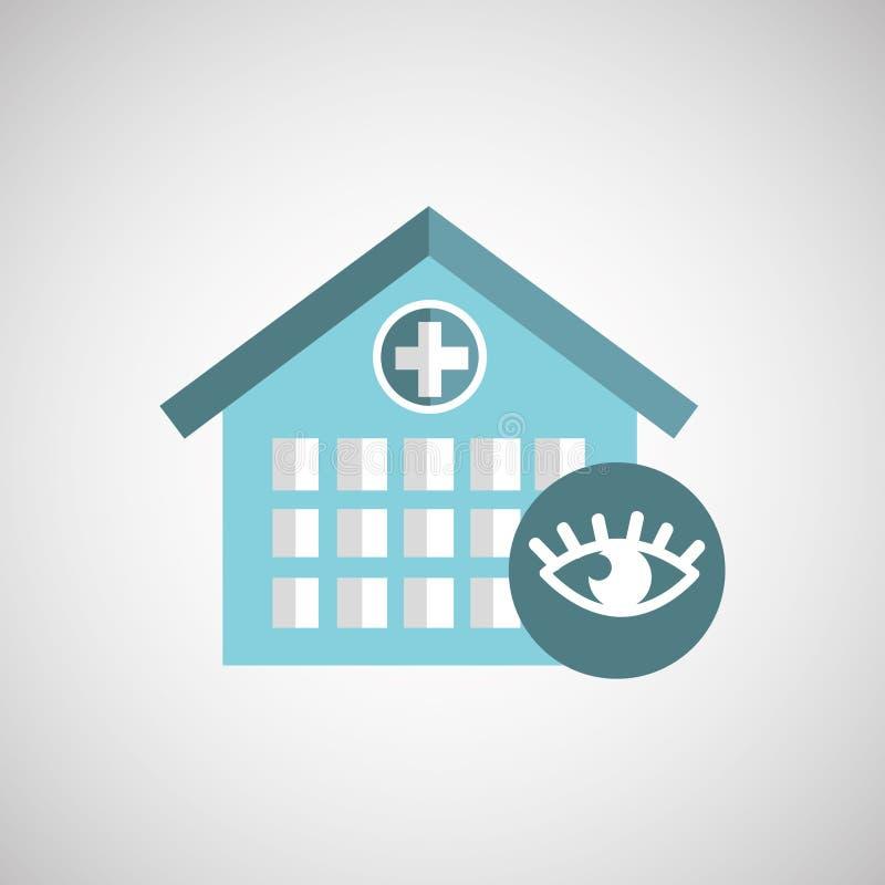 icono sano del edificio del hospital del cuidado del ojo stock de ilustración