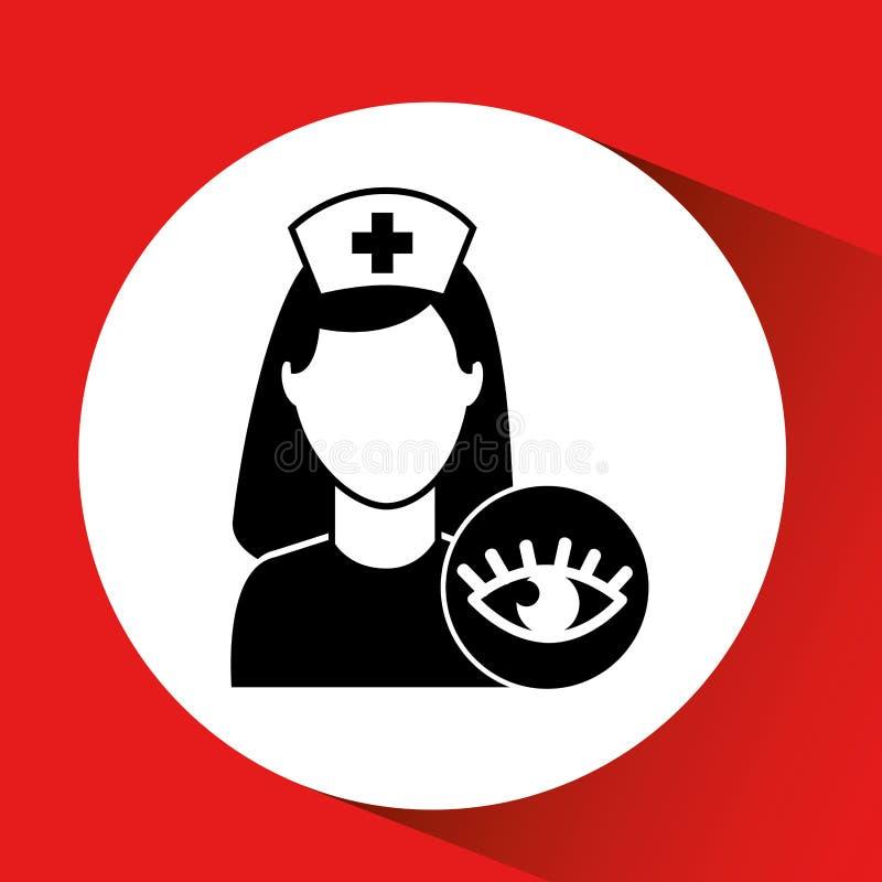 icono sano del edificio del hospital del cuidado del ojo libre illustration