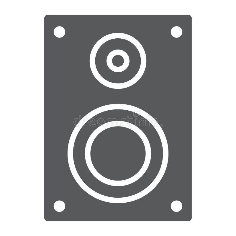 Icono sano del glyph del altavoz, electrónico y digital stock de ilustración