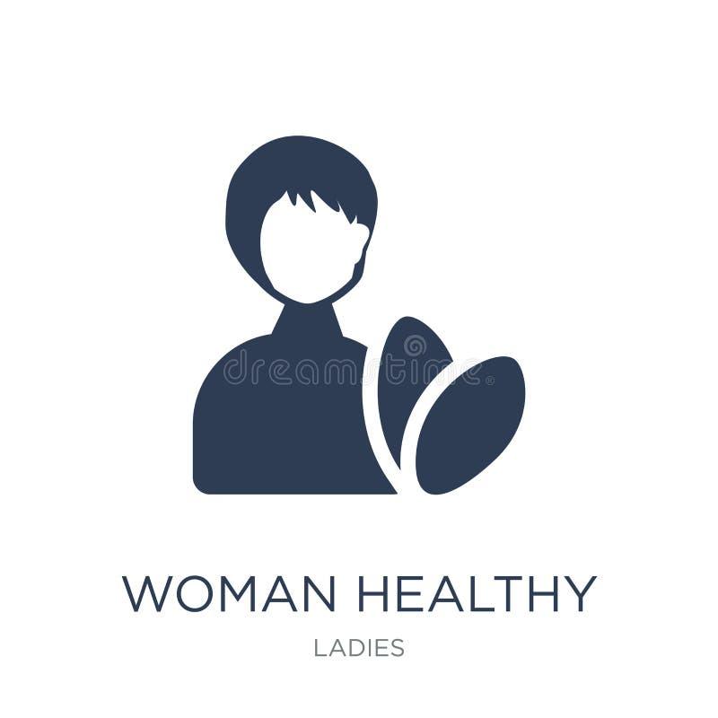 Icono sano del tratamiento de la mujer Mujer plana de moda T sano del vector stock de ilustración