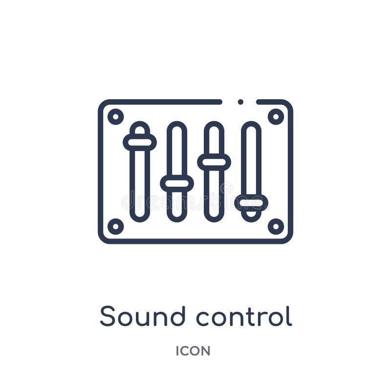 Icono sano linear del control de la colección del esquema general Línea fina icono sano del control aislado en el fondo blanco So stock de ilustración