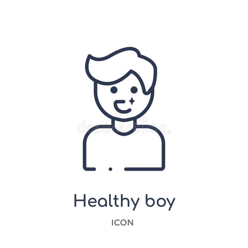 Icono sano linear del muchacho de la colección del esquema del dentista Línea fina icono sano del muchacho aislado en el fondo bl libre illustration