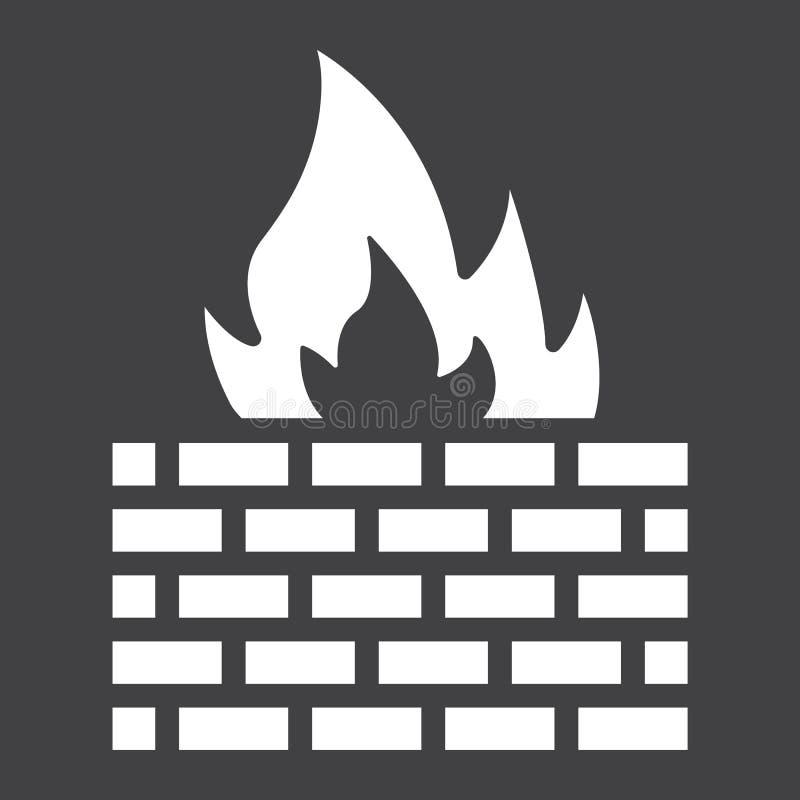 Icono, seguridad y pared de ladrillo sólidos del cortafuego libre illustration