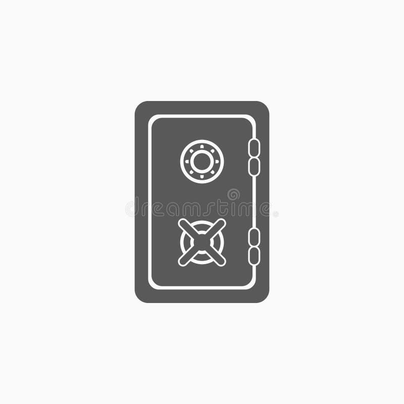 Icono seguro, banco, dinero, depósito stock de ilustración