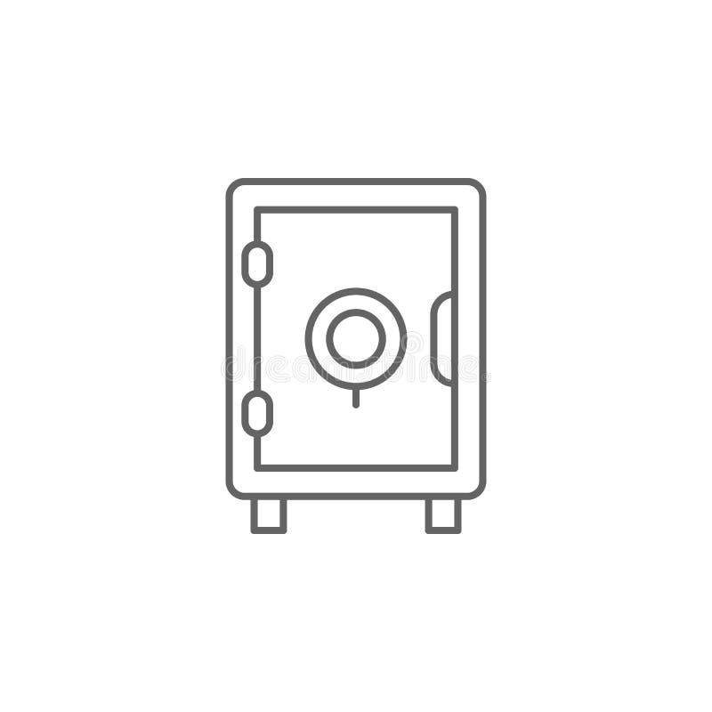 Icono seguro del esquema de la caja de la justicia Elementos de la línea icono del ejemplo de la ley Las muestras, los símbolos y stock de ilustración