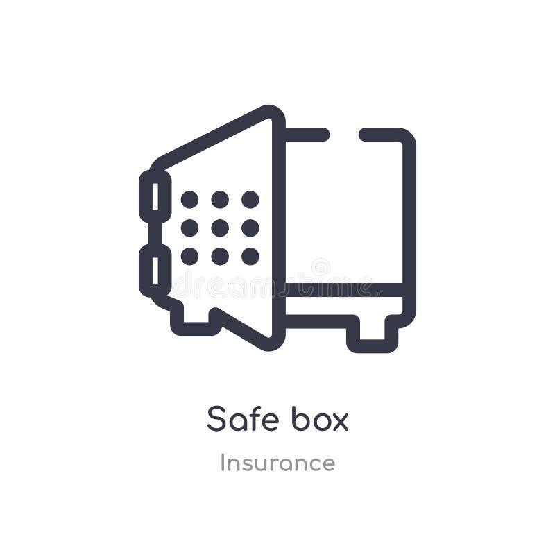 Icono seguro del esquema de la caja l?nea aislada ejemplo del vector de la colecci?n del seguro icono seguro de la caja del movim stock de ilustración