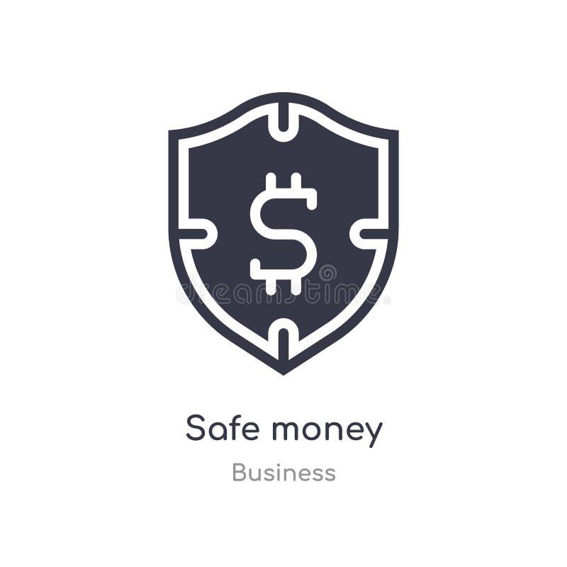 icono seguro del esquema del dinero l?nea aislada ejemplo del vector de la colecci?n del negocio icono seguro del dinero del movi libre illustration
