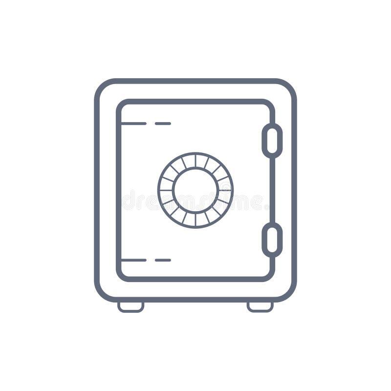 Icono seguro del vector del banco caja fuerte cerrada del estilo linear aislada Sola línea moderna aislada caja fuerte del vector ilustración del vector