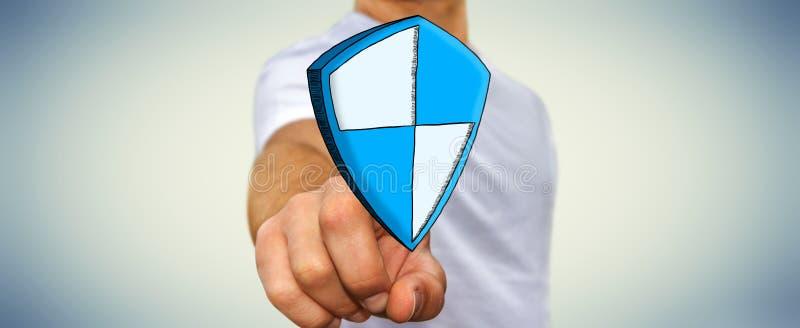 Icono seguro dibujado mano conmovedora de la protección del escudo del hombre de negocios libre illustration