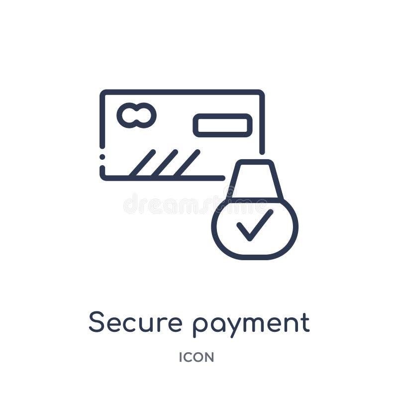 Icono seguro linear del pago de la seguridad de Internet y de la colección del esquema del establecimiento de una red Línea fina  stock de ilustración