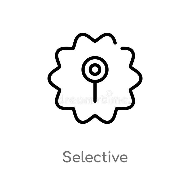 icono selectivo del vector del esquema l?nea simple negra aislada ejemplo del elemento del concepto de la interfaz de usuario Mov libre illustration