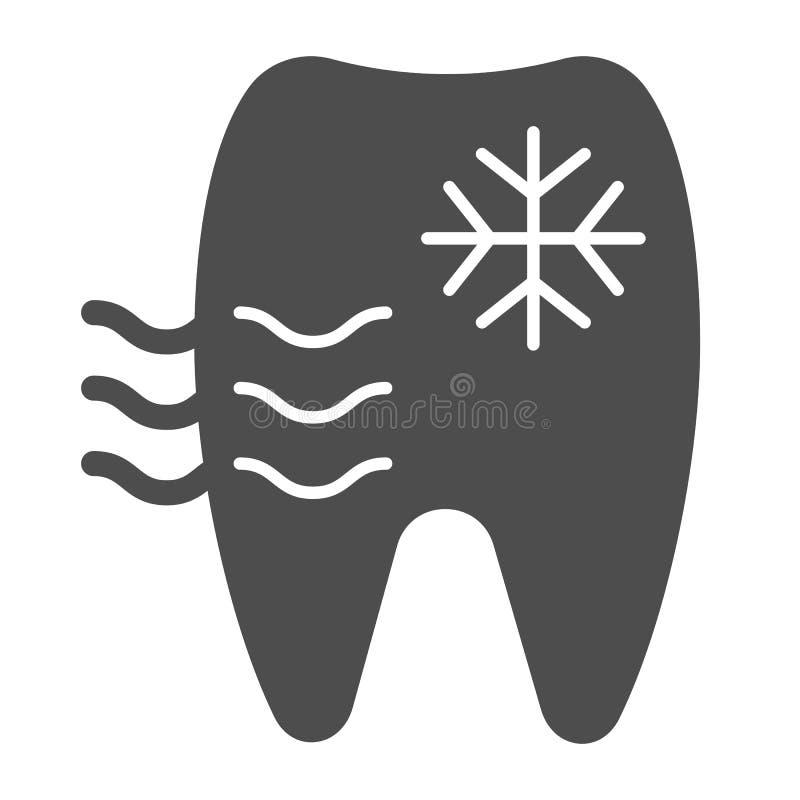 Icono sensible del sólido del diente Ejemplo del vector del diente y del copo de nieve aislado en blanco Diseño del estilo del gl libre illustration