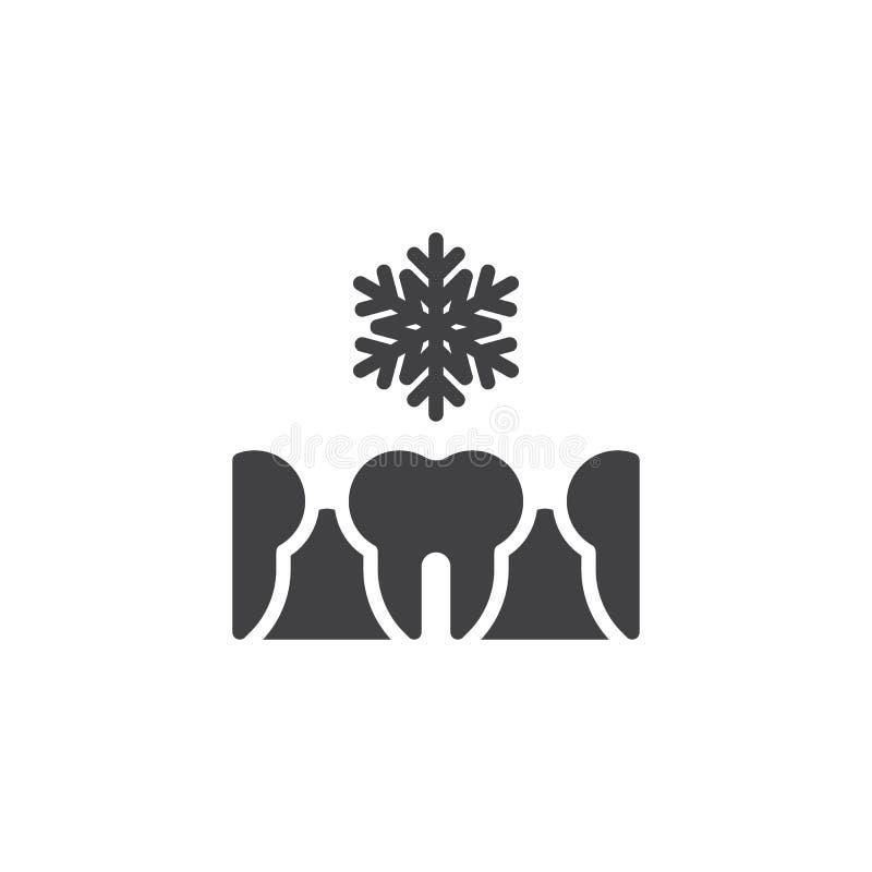 Icono sensible frío del vector de los dientes stock de ilustración