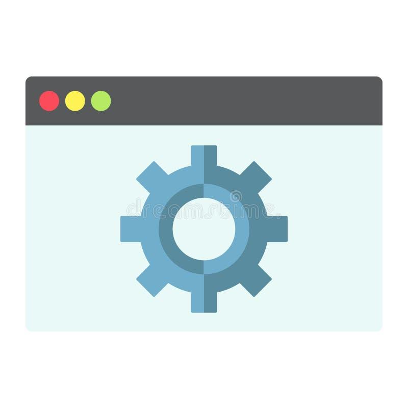 Icono, seo y desarrollo planos de la optimización del web stock de ilustración