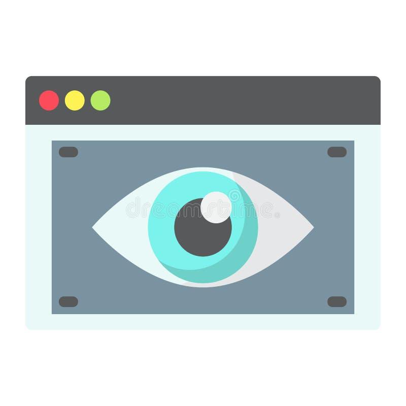 Icono, seo y desarrollo planos de la visibilidad del web stock de ilustración
