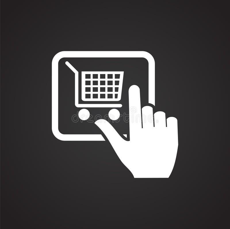 Icono shoping en línea del botón de la compra en el fondo negro para el gráfico y el diseño web, muestra simple moderna del vecto stock de ilustración