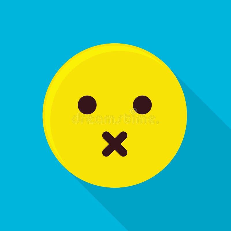 Icono silencioso del emoticon, estilo plano stock de ilustración