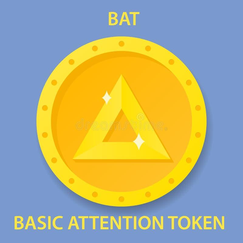 Icono simbólico del blockchain del cryptocurrency de la moneda de la atención básica Dinero electrónico, de Internet virtual o sí ilustración del vector