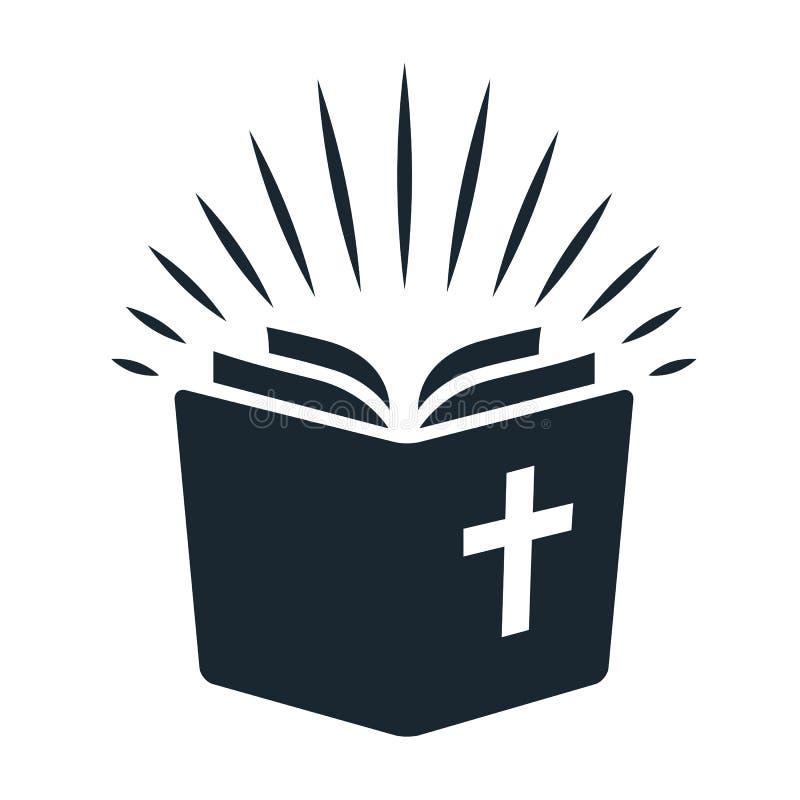 Icono simple de la biblia Abra el libro con los rayos de la luz que brillan del pag ilustración del vector