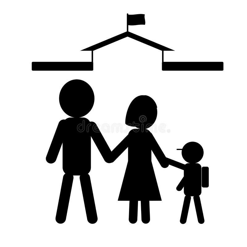 Icono simple de la familia en color negro; icono del niño que va a la escuela con los padres Ejemplo del vector, EPS 10 fotos de archivo libres de regalías