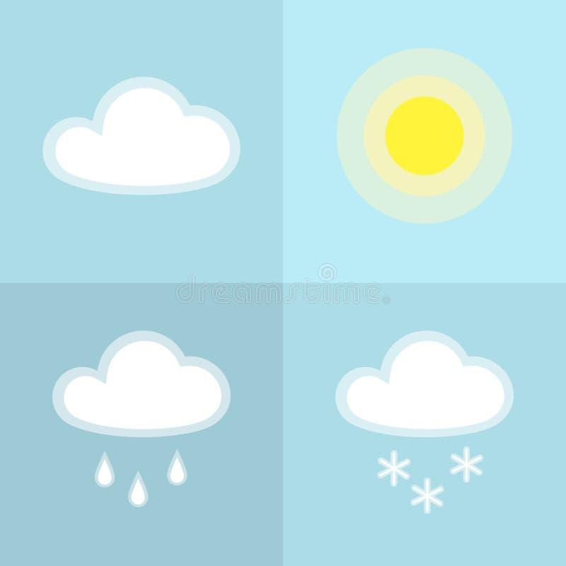 Icono simple de la nieve de la lluvia de la nube de Sun aislado en el elemento plano del diseño del fondo del icono del tiempo ne ilustración del vector